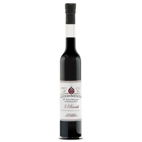"""Condimento all'Aceto Balsamico di Modena i.G.P. """"5 BARILI"""" Acetomodena 100 ml"""
